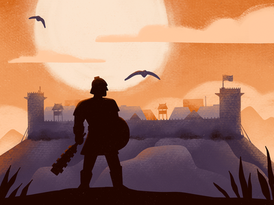 Castle clouds silhouette fortress fort epic sun warrior castle procreate illustration
