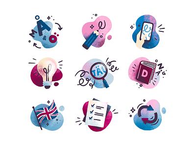 Sandberg icon set seo copywriting linguistic translations brand illustration services icon set icons digital illustration procreate illustration