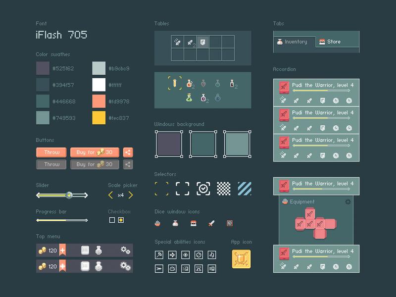 UI for pixel art game Dice Heroes by Sasha Kolesnik on Dribbble