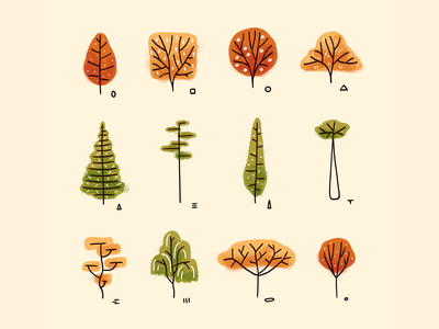 Tree shapes study study fall colors autumn flyer shapes tree trees botanical illustration autumn botanical plants procreate art digital art procreate illustration digital illustration