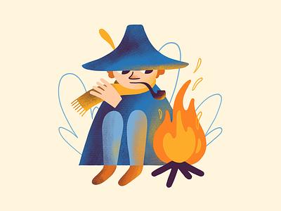 Snusmumriken camping fanart hat pipe fire campfire moomin snusmumriken snufkin procreate art digital art procreate illustration digital illustration