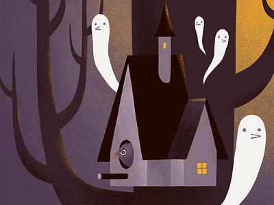 Haunted birdhouse dark tree ghost bird house birdhouse haunted house haunted spooky halloween autumn procreate art digital art procreate illustration digital illustration