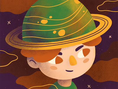 The Space boy nebula interstellar space hat planet boy character design character procreate art digital art procreate illustration digital illustration