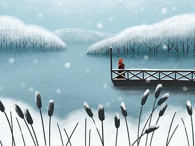 Snowy landscape sweden red hat landscape lake snowy snow winter procreate art digital art procreate illustration digital illustration