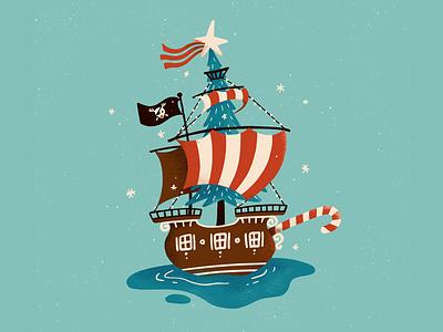 Aho-ho-hoy! ahoy snow gingerbread candy cane ship pirate ship christmas decorations xmas christmas procreate art digital art procreate illustration digital illustration