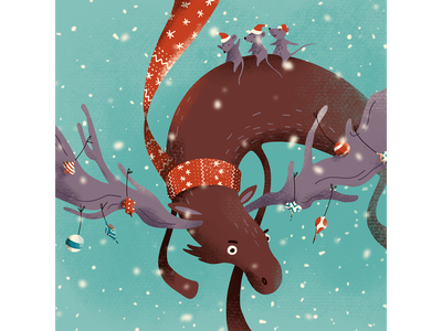 Christmas moose ride snowflakes moosesnowboards rider scarf christmas decorations winter fun ride xmas christmas moose character procreate art digital art procreate illustration digital illustration
