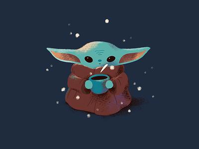 Baby Yoda mandalorian cup snowflakes cute snow fanart star wars baby yoda yoda character procreate art digital art procreate illustration digital illustration