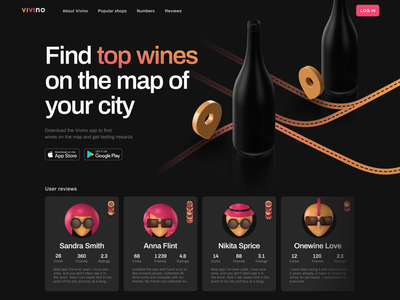 Concept of promo page service Vivino achievement pin 3d promo service pink bottles avatars wine ui design dark app