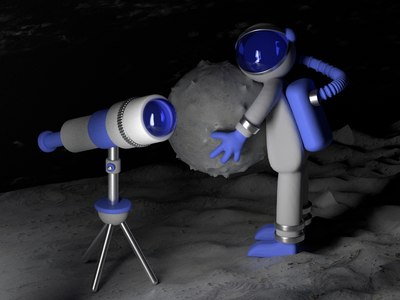 Moon character space darkblue blue telescope cosmonaut moon 3d ui illustration