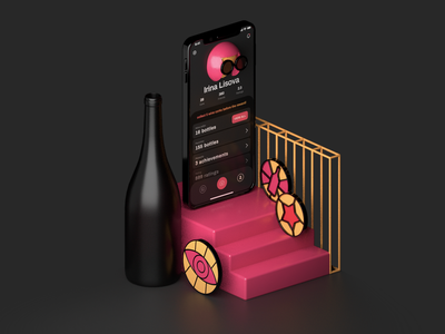 3D illustration for Vivino app c4d phone bottle achievement ui illustraion profile app dark app 3d