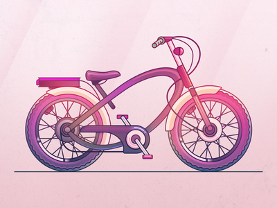 Bicycle illustration pink design bicycle illustraion ui