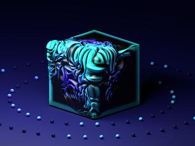 3D cube blue modeling ui 3d cube