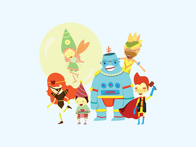 Superheroes gnome fairy team robot illustration heroes hero