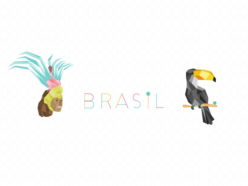 Brasil brasil geometic tropical brazilian bird tucano toucan carnival illustration brazil
