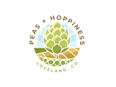 Peas + Hoppiness Logo Comp food farm line art logo