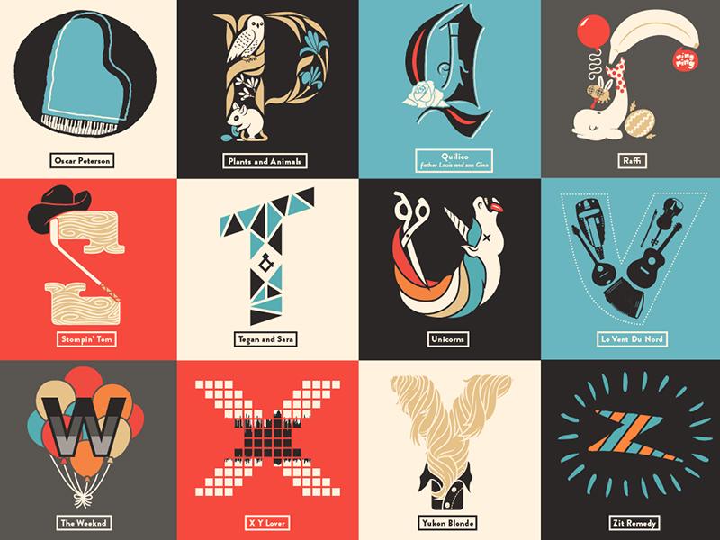 Canadian Music Alphabet Poster poster lettering illustration alphabet cbc