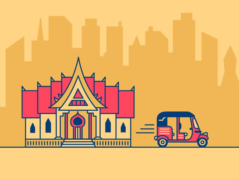 Bangkok temple bangkok tuk-tuk travel