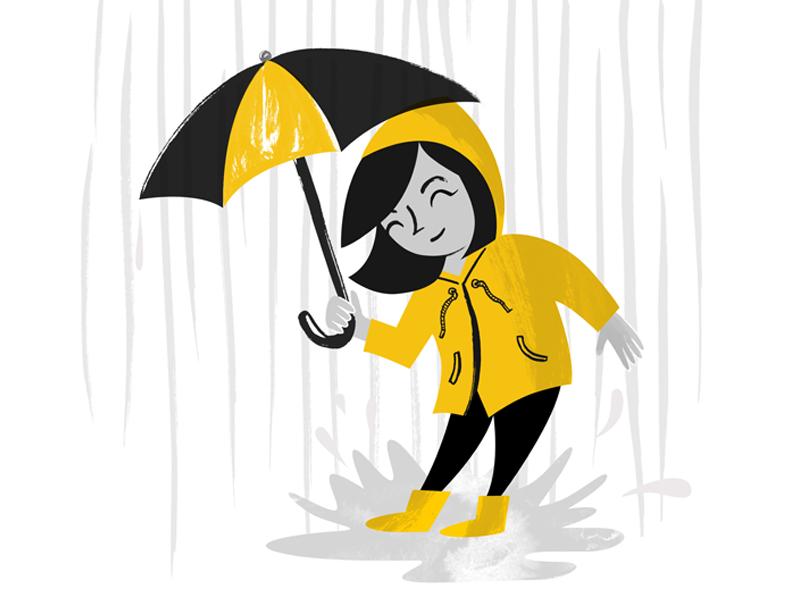 Spring Rainy Days umbrella rain coat puddles rain illustration