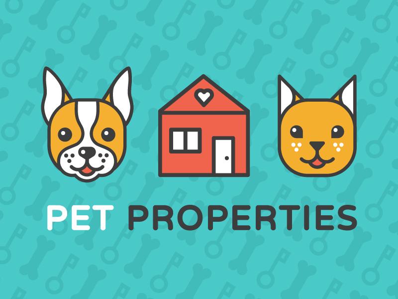 Pet Properties Logo dog bone design pattern icon illustration logo puppy kitten cat realty home boston terrier