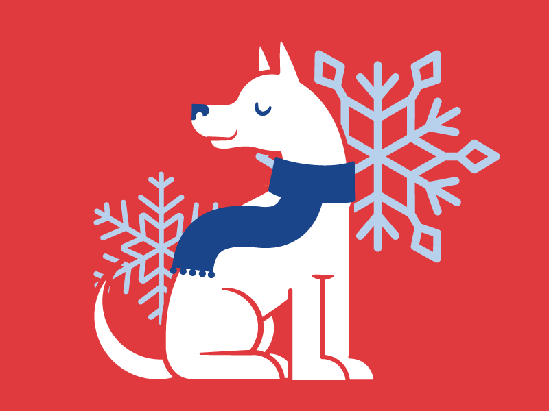 Winter pup! cold winter scarf illustration dog