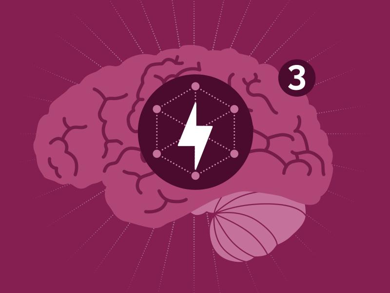 Powering the brain illustration infographic focus energy brain