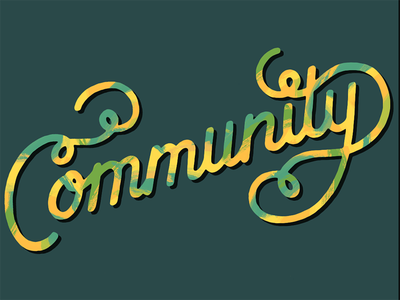 Community community design script lettering hand-lettering homwork