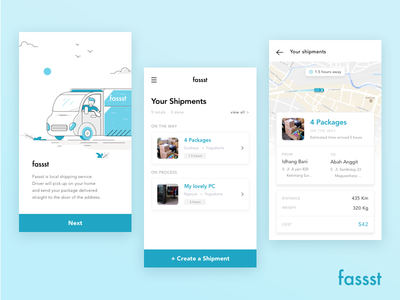 Fassst App Concept clean ui onboarding illustrations ios mobile app shipment shipping