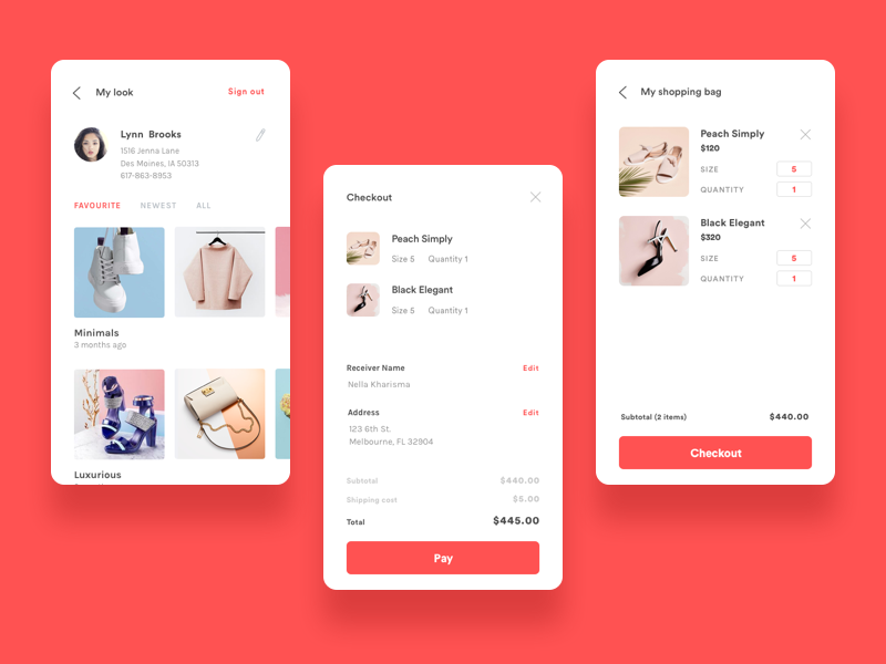 Checkout and Profile Screen ux ui mobile minimal ios illustration icon fashion ecommerce design color