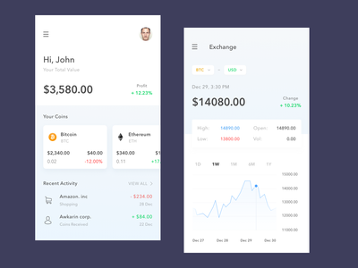 Crypto Wallet Exploration - White ux simple clean mobile ios icon ui crypto app bitcoin