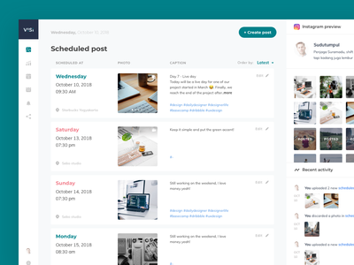 Visi - Instagram scheduled post web ux simple analytic website dekstop clean ui dashboard
