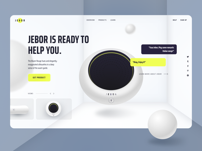 Jebor - Home Assistant Website gradient marketing website explorations ui clean minimal future product smart speaker smart home