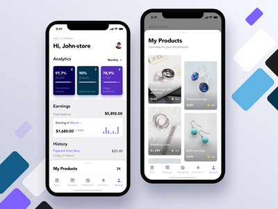 Seller Dashboard - Mobile Ui Exploration ios clean product store app shop ecommerce app iphonex app ui ux