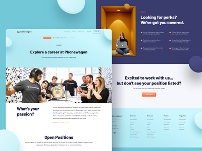 Career - Phonewagon typography call tracking platform call tracking software product 3d element marketing website startup call tracking simple clean branding illustration design website icon web ux ui