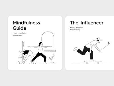 UX ideation card design visualidentity doodle illust artwork minimalism simplicity branding pictogram illustration graphic influencer yoga