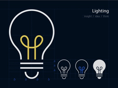 Lighting icon guideline bulb minimalism simplicity branding icon pictogram illustration meanimize graphic