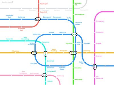 alphabet a amsterdam mapdesign simplicity branding pictogram illustration meanimize graphic infographic map subway