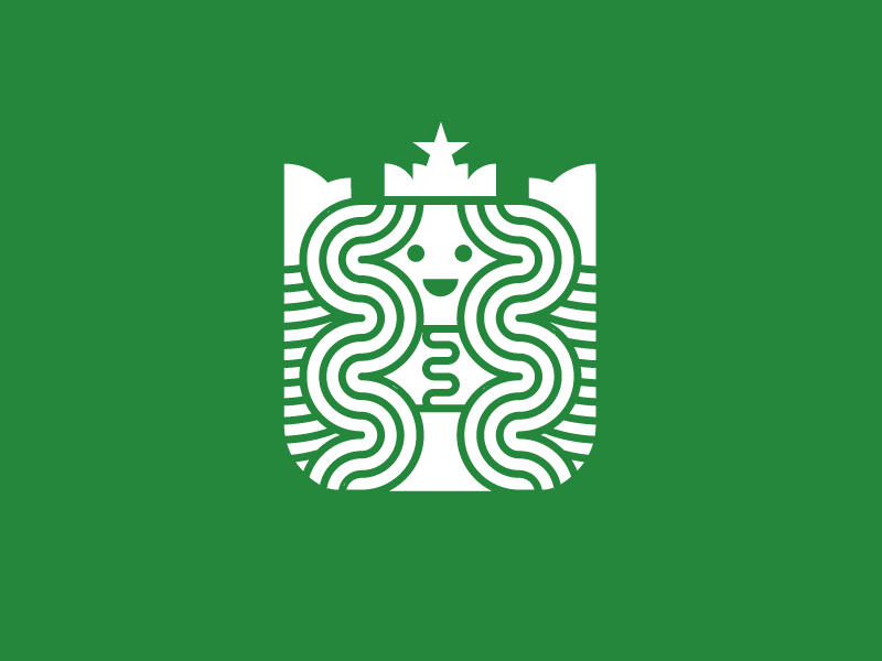 Starbucks logo redesign meanimize flat illustration graphic pictogram icon branding redesign logo starbucks