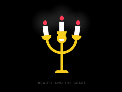 Beauty and the beast candle meanimize illustration icon graphic flat beautyandthebeast logo geometric movie