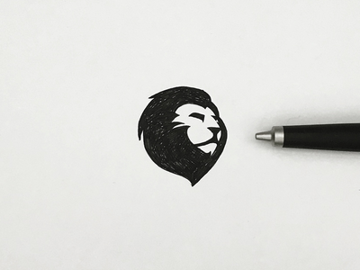 Lion sketch drawing icon animal meanimize isotype pictogram logo illust graphic lion