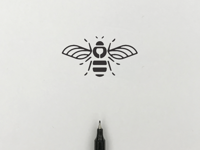 Bee illust meanimize dog logo icon graphic pictogram insect bee