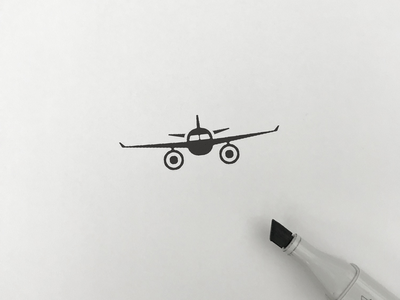 Airplane simple illust meanimize isotype logo icon graphic pictogram airplane