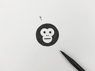 Monkey meanimize minimal simple symbol logo icon graphic illust pictogram monkey