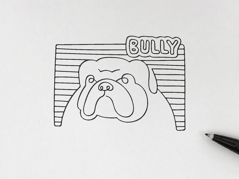 Bully croquis doodle linedrawing animal artwork minimalism simplicity pictogram icon meanimize illustration bulldog graphic bully