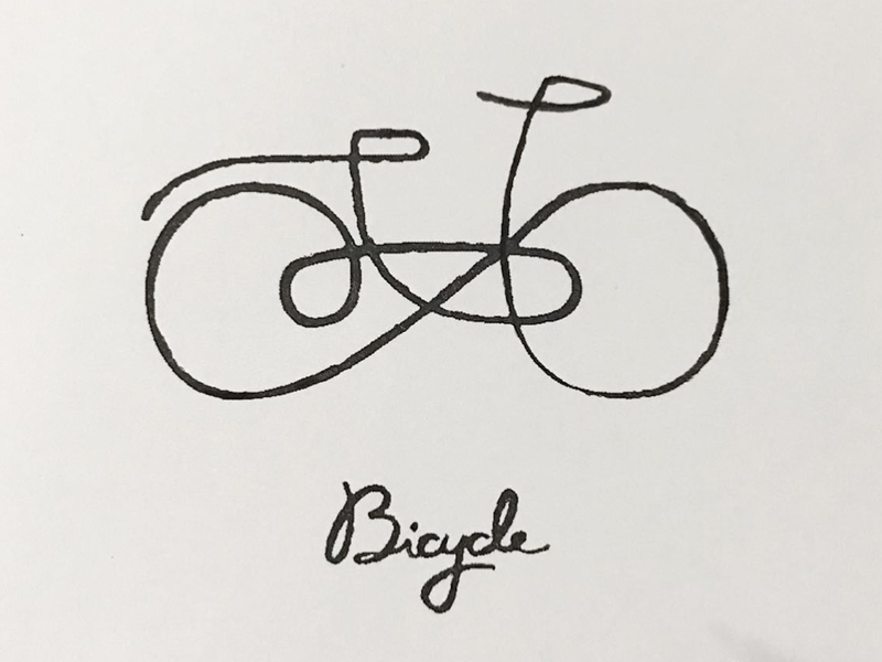 Bicycle croquis doodle linedrawing artwork minimalism simplicity logo pictogram illustration meanimize graphic bicycle