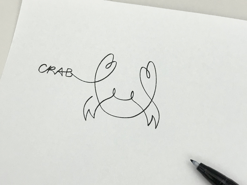 Crab croquis linedrawing doodle artwork minimalism simplicity branding logo icon meanimize illustration graphic crab