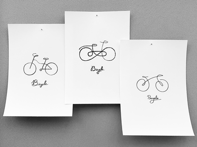 Three bicycle linedrawing calligraphy illust artwork logo simplicity doodle bicycle