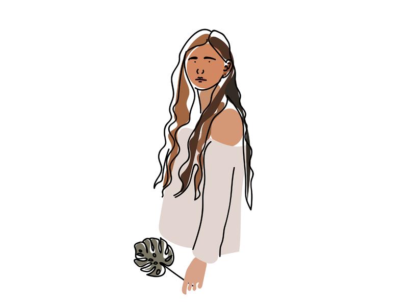 Fun Illustration shapes clean minimal monstera illustrator illustration