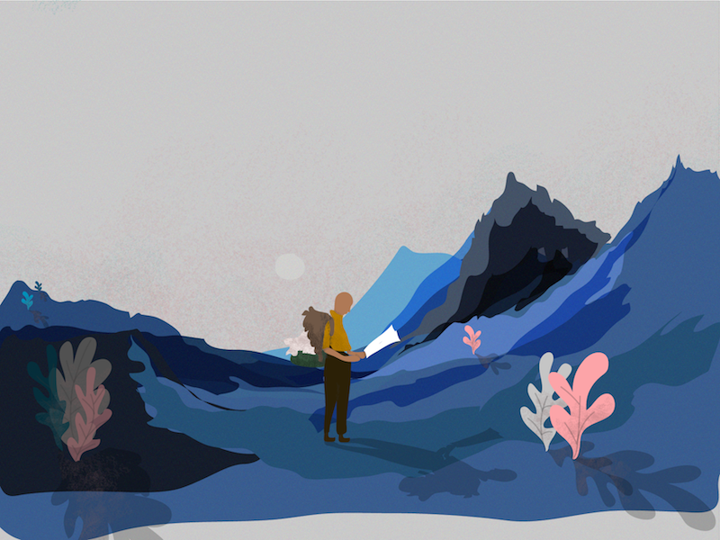 A journey through time transparency layers grain texture flat journey mountains plants illustrator illustration