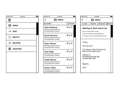 M Smartphone App m minimalism ui interface email