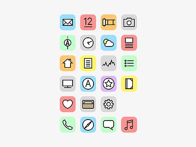 iPhone Home Screen Icons home screen apple app ui design minimal icons iphone ios